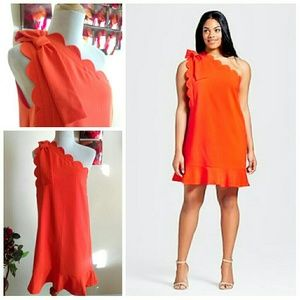 Orange Half Shoulder Dress (Victoria Beckham)